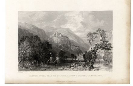 1835 Print CASTLE ROCK St John's in the Vale CUMBERLAND Antique